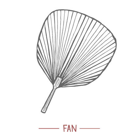 Fan. Japanese Symbol in Hand Drawn Style for Surface Design Fliers Prints Cards Banners. Vector Illustration 矢量图像