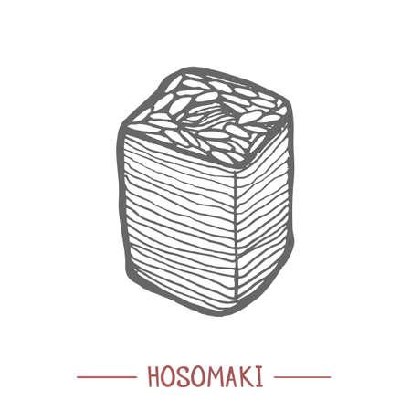 Hosomaki in Hand Drawn Style Illustration