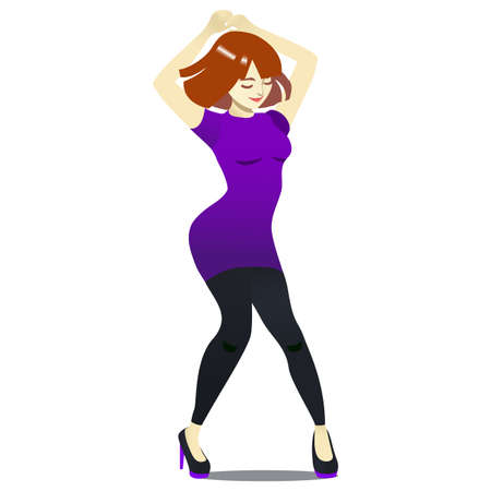Club Dancer. Dancing Girl in Cartoon Style for Fliers Posters Banners Prints of Dance School and Studio. Vector Illustration