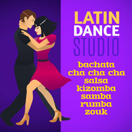Latin Dance Studio Template. Composition for Fliers Posters Prints of Dance School and Studio. Vector Illustration