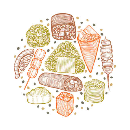 Round Colored Composition with Japanese Food. Template in Hand Drawn Style for Surface Design Fliers Prints Menu. Vector Illustration