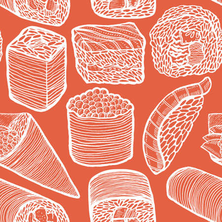Dark Sushi Pattern in Hand-Drawn Style