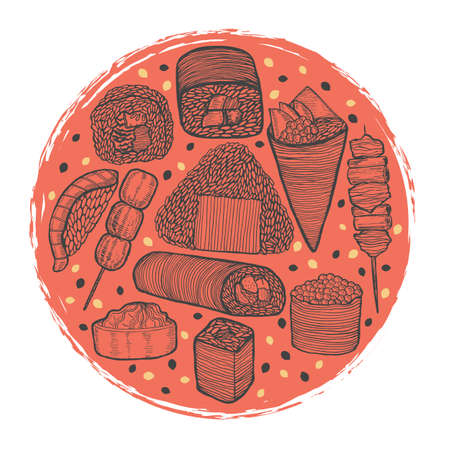 Round Dark Composition with Japanese Food in Hand Drawn Style Illustration