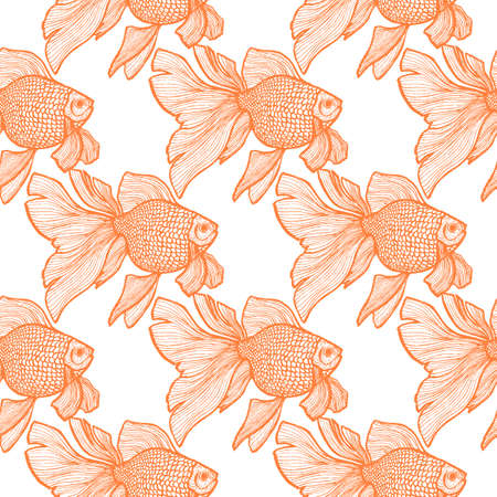 Goldlfish Pattern in Hand Drawn Style Illustration