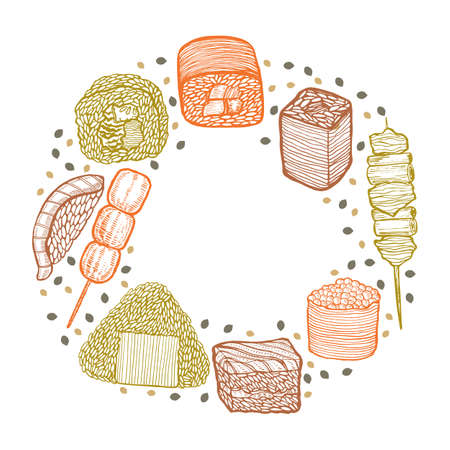 Round Colored Composition with Japanese Food in Hand Drawn Style
