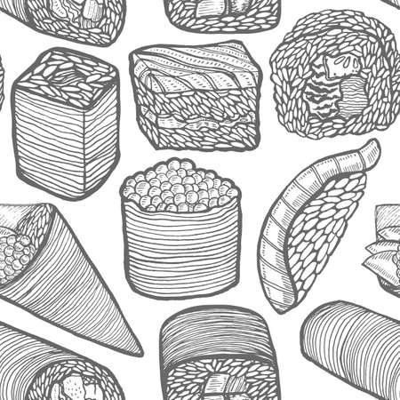 Sushi Pattern in Hand-Drawn Style