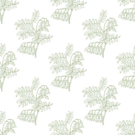 Colored Shrubbery Sophora Pattern in Hand-Drawn Style Ilustrace