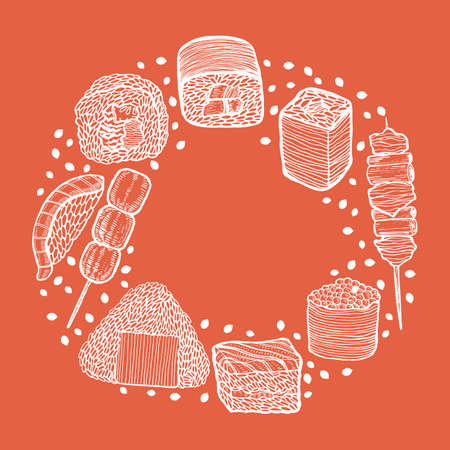 Round Composition with Japanese Food in Hand-Drawn Style
