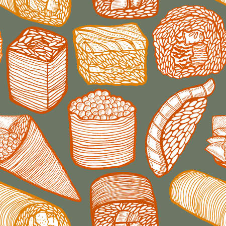 Dark Colored Sushi Pattern in Hand-Drawn Style Illustration