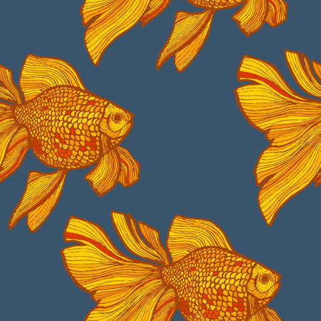 Dark Colored Goldlfish Pattern in Hand-Drawn Style