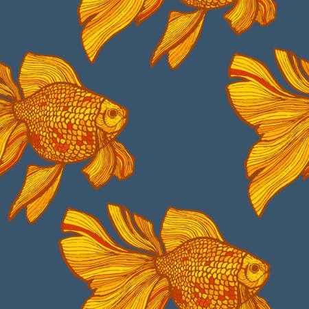 Patrón de pez dorado de color oscuro en estilo dibujado a mano Ilustración de vector