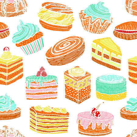 Seamless Colorful Pattern with Cupcakes Cakes and Pastries. Background with Sweets in Hand Drawn Doodle Style. Vector Illustration Illustration
