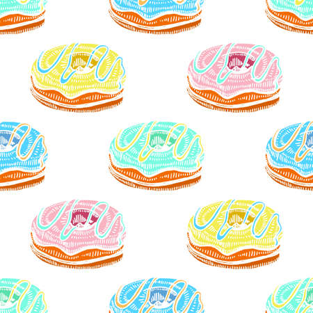 Colored Seamless Pattern with Doughnuts. Background with Sweets in Hand Drawn Doodle Style. Vector Illustration Illustration