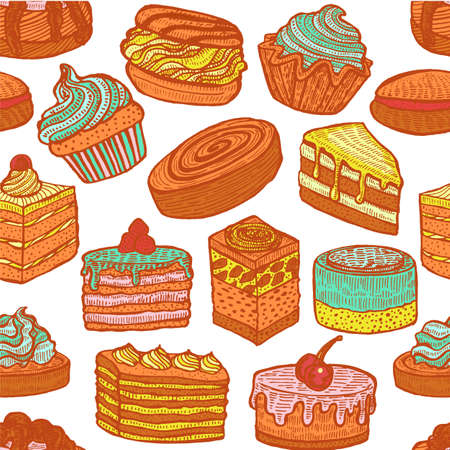 Seamless Colorful Pattern with Cupcakes Cakes and Pastries. Background with Sweets in Hand Drawn Doodle Style. Vector Illustration Ilustração
