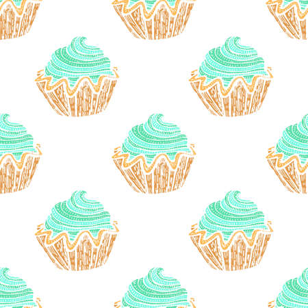 Colored Seamless Pattern with Cupcakes. Background with Sweets in Hand Drawn Doodle Style. Vector Illustration