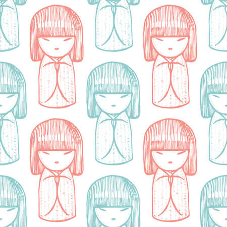 Kokeshi Pattern. Japanese Doll Background in Hand Drawn Style for Surface Design Fliers Prints Cards Banners. Vector Illustration