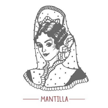 Girl in Mantilla and with Peineta in Hand Drawn Style