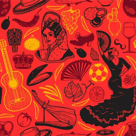 Dunkles Muster mit spanischen Symbolen. Hintergrund im handgezeichneten Stil für Oberflächendesign Flyer Banner Drucke Poster Karten. Vektorillustration