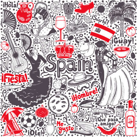 Set of Symbols of Spain. Composition in Hand Drawn Style for Surface Design Fliers Banners Prints Posters Cards. Vector Illustration Çizim