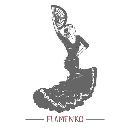 Girl Dancing Flamenko in Graphic Hand-Drawn Style Ilustração