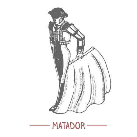 Matador. Man in Hand Drawn Style for Surface Design Fliers Banners Prints Posters Cards. Vector Illustration