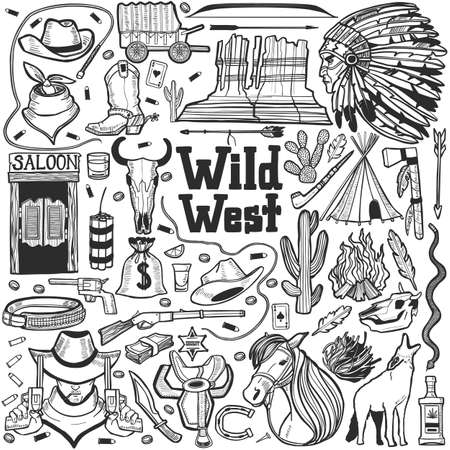 Wild West Set. Collection in Hand Drawn Style for Surface Design Fliers Banners Prints Posters Cards. Vector Illustration Çizim