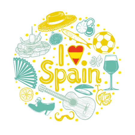 Round Composition with Spanish Symbols and I Love Spain Text. Template in Hand Drawn Style for Surface Design Fliers Banners Prints Posters Cards. Vector Illustration