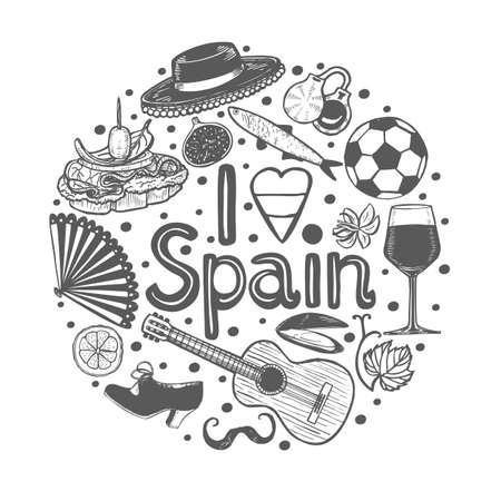 Composición redonda con símbolos españoles y texto I Love Spain. Plantilla en estilo dibujado a mano para diseño de superficies, volantes, pancartas, impresiones, carteles, tarjetas. Ilustración vectorial Ilustración de vector