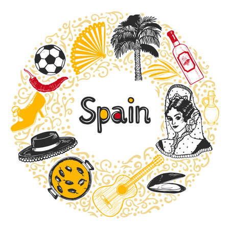 Round Composition with Spanish Symbols. Template in Hand Drawn Style for Surface Design Fliers Banners Prints Posters Cards. Vector Illustration Çizim
