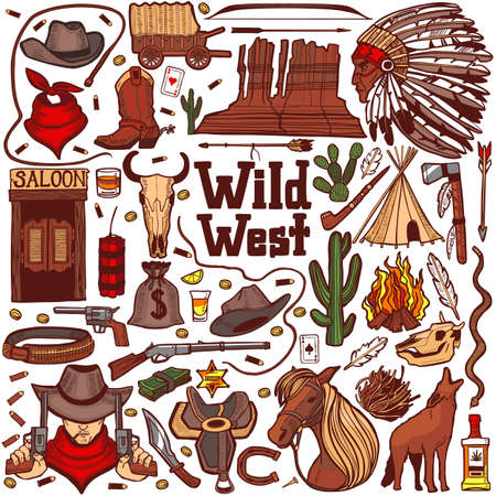 Colored Wild West Set. Collection in Hand Drawn Style for Surface Design Fliers Banners Prints Posters Cards. Vector Illustration Çizim