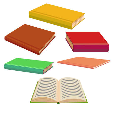 Book Set. Collection in Cartoon Style for Banners Fliers Posters Prints. Vector Illustration