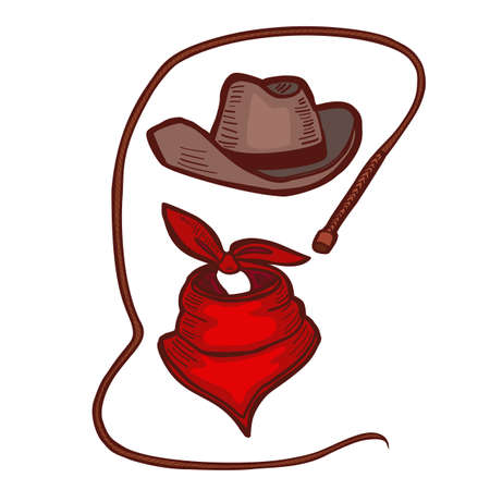 Colored Cowboy Hat Bandana and Whip. Accessories in Hand Drawn Style for Surface Design Fliers Banners Prints Posters Cards. Vector Illustration