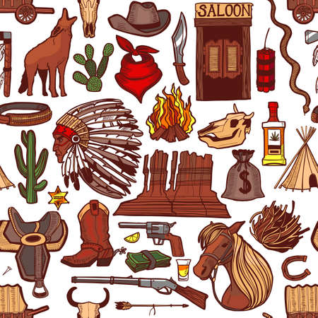Colored Wild West Pattern. Seamless Background in Hand Drawn Style for Surface Design Fliers Banners Prints Posters Cards. Vector Illustration