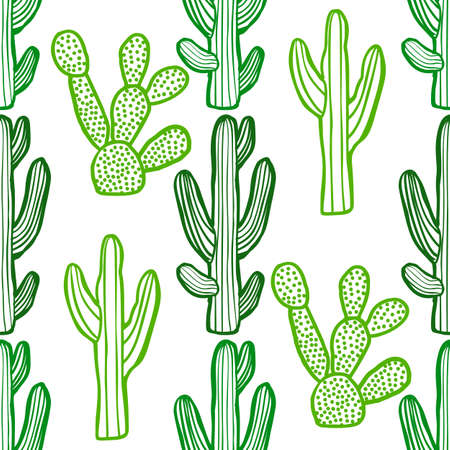Cactus Pattern. Plant Background in Hand Drawn Style for Banners Fliers Posters Surface Design Web. Vector Illustration Çizim