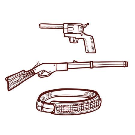 Carabine revolver et ceinture de cartouche dans un style dessiné à la main