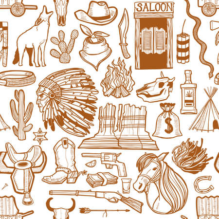 Wild West Pattern. Seamless Background in Hand Drawn Style for Surface Design Fliers Banners Prints Posters Cards. Vector Illustration Çizim