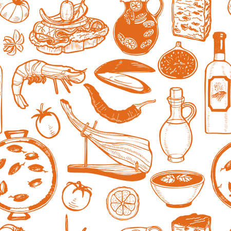 Pattern with Spanish Food. Background in Hand Drawn Style for Surface Design Fliers Banners Prints Posters Cards. Vector Illustration