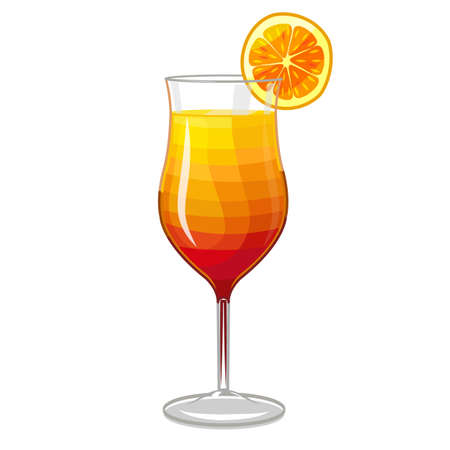 Tequila Sunrise Cocktail. Alcoholic Drink in Cartoon Style for Menu Prints Banners Fliers. Vector Illustration Çizim