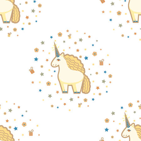 Pattern with Cute Unicorn Stars Flowers and Gifts. Seamless Background in Cartoon Style for Surface Design Cards Posters Fabric. Vector Illustration