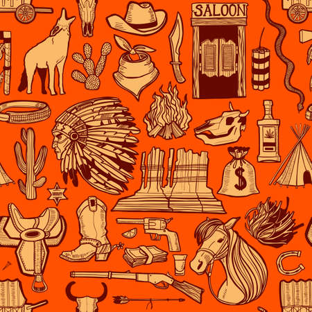 Dark Wild West Pattern. Seamless Background in Hand Drawn Style for Surface Design Fliers Banners Prints Posters Cards. Vector Illustration Çizim