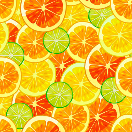Citrus Colorful Pattern. Fruity Seamless Background in Cartoon Style for Posters Prints Banners Fliers Surface Design. Vector Illustration