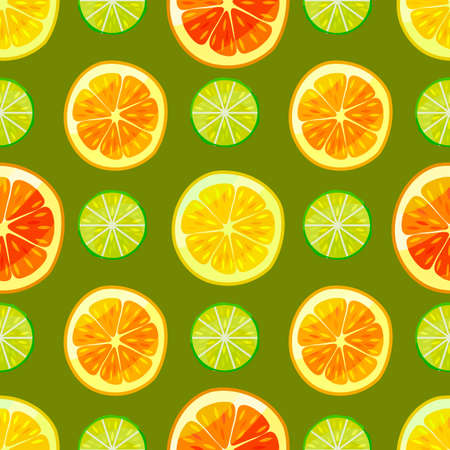 Dark Citrus Colorful Pattern. Fruity Seamless Background in Cartoon Style for Posters Prints Banners Fliers Surface Design. Vector Illustration Çizim