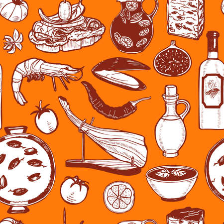 Dark Pattern with Spanish Food. Background in Hand Drawn Style for Surface Design Fliers Banners Prints Posters Cards. Vector Illustration