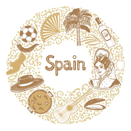 Round Composition with Spanish Symbols. Template in Hand Drawn Style for Surface Design Fliers Banners Prints Posters Cards. Vector Illustration Stock Illustratie