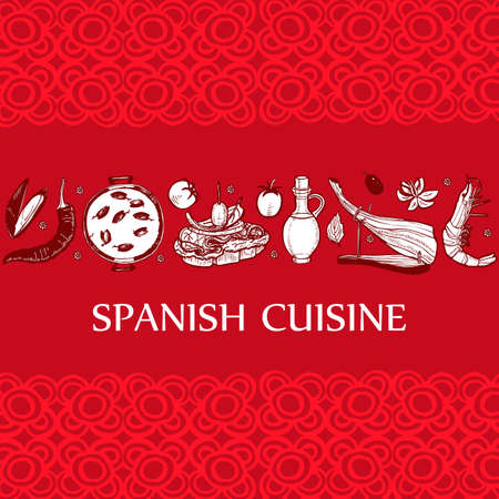 Dark Template with Spanish Food. Composition in Hand-Drawn Style for Menu Banners Fliers