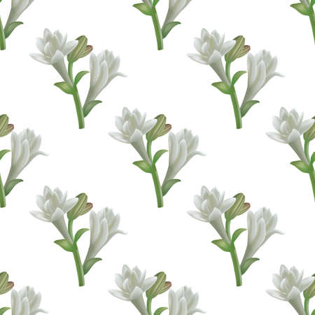 Tuberose Flowers Pattern. Seamless Background in Realistic Style for Poster Card Flier Banner Surface Design. Vector Isolated Illustration