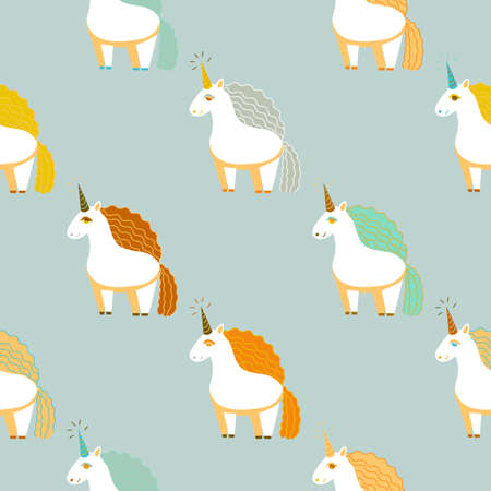 Pattern with Cute Unicorns. Seamless Background in Cartoon Style for Surface Design Cards Posters Fabric. Vector Illustration Çizim