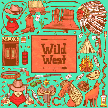 Dark Wild West Set. Collection in Hand Drawn Style for Surface Design Fliers Banners Prints Posters Cards. Vector Illustration Çizim