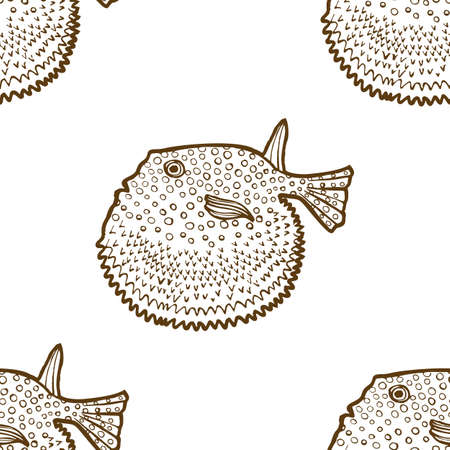 Fugu Pattern. Seamless Background for Poster Card Flier Banner Surface Design. Vector Isolated Illustration
