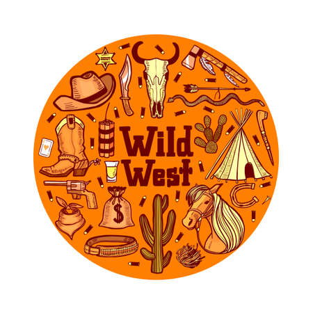Round Composition with Wild West Elements. Template in Hand Drawn Style for Surface Design Fliers Banners Prints Posters Cards. Vector Illustration